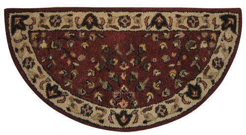 Red with Beighe Hand Tufted 100% Wool Rug