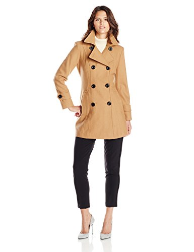Anne Klein Women's Classic Double Breasted Wool Coat, Camel, Small
