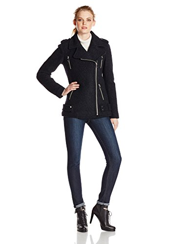 French Connection Women's Wool Boucle Moto Jacket, Black, 10