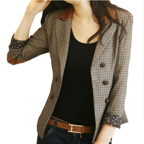 Vobaga Vintage Style Double-Breasted Check Blazer Jacket Coat-s