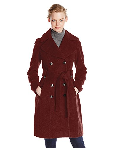 Anne Klein Women's Double Breasted Cashmere Wool Coat, Red, 12