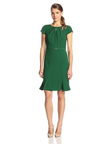 Ellen Tracy Women's Short Sleeve Keyhole Flare Bottom Dress, Emerald, 4
