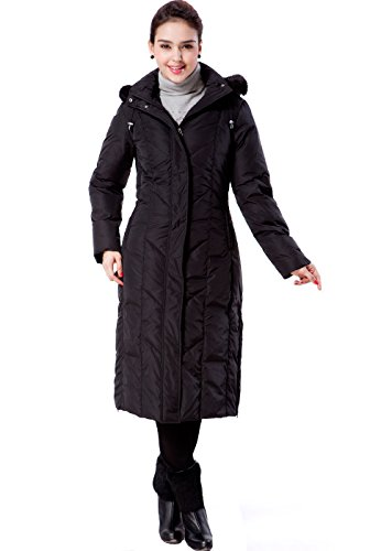 "BGSD Women's ""Tisha"" Long Hooded Down Parka Coat – Black X-Large"