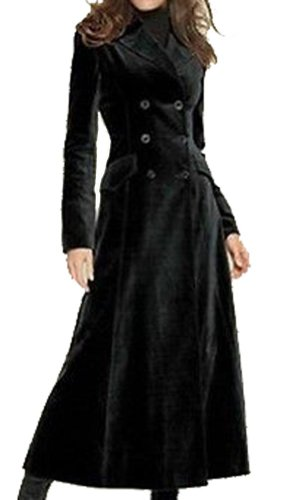 Women's Black Double Breasted Wool Blend Overcoat Slim Fit Long Coat