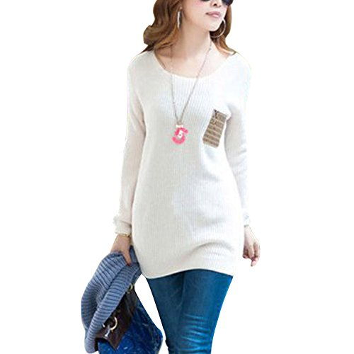 Etosell Womens Long Sleeve Outwear Loose Blouse Knitted Jumper Sweater Pullover White