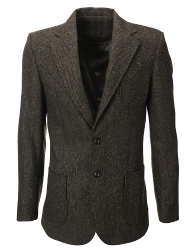 FLATSEVEN Mens Herringbone Wool Blazer Jacket with Elbow Patches (BJ902) Khaki, L