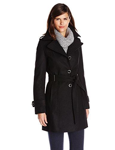 Calvin Klein Women's Single Breasted Wool Coat with Belt, Black, 6