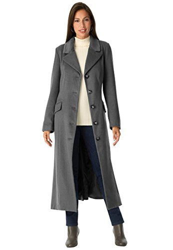 Jessica London Women's Plus Size Long Wool-Blend Coat With Notch Collar