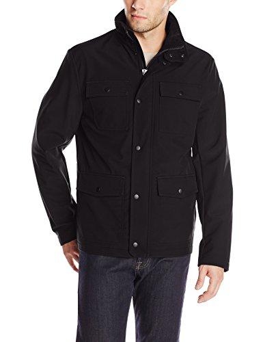 Kenneth Cole Reaction Men's Four Pocket Softshell Jacket, Black, X-Large
