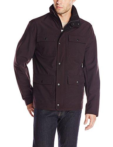 Kenneth Cole Reaction Men's Four Pocket Softshell Jacket, Raisin, Medium
