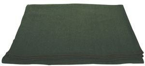 Olive Drab French Army Style Extremely Warm Wool Blanket – 66 x 90, Cold Weather Blanket