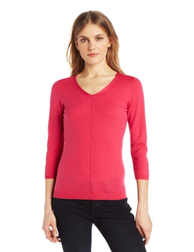 Colour Works Women's 3/4 Sleeve V-Neck Seam Out Sweater, Peony Pink, Small