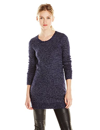 BCBGeneration Women's 2-Color Boucle Tunic Sweater, Deep Blue Combo, Small