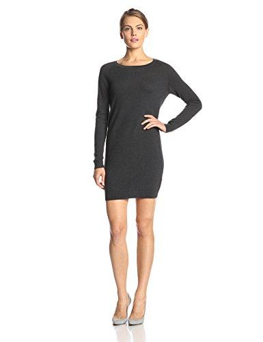 French Connection Women's Marla Merino Long Sleeve Sweater Dress, Charcoal Melange, 6
