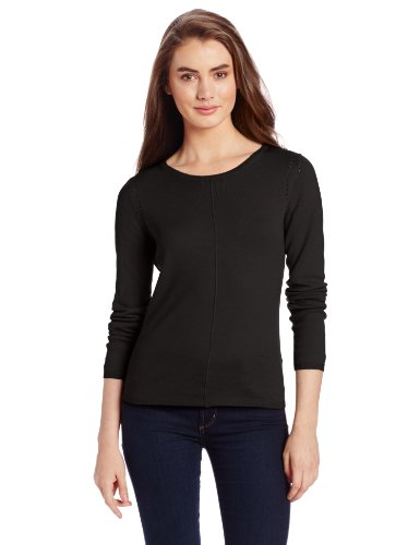 Colour Works Women's 100% Merino Wool Jewel Neck Seam Out Sweater, Black, Small