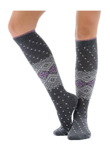 Womens Print Knee Hi Socks Cashmere Virgin Wool blend 7 Color Options Color:: Gray