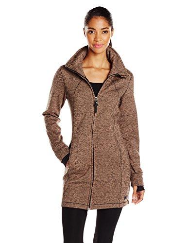 Calvin Klein Performance Women's Hooded Sweater Knit Walker Coat, Toffee/Black, Small