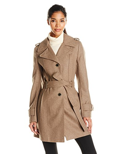 Calvin Klein Women's Single-Breasted Wool Coat with Belt