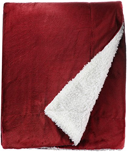 Northpoint Cashmere Velvet Reverse to Cloud Sherpa Throw, Burgundy
