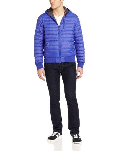 Calvin Klein Men's Hooded Down Packable, Blue, X-Large