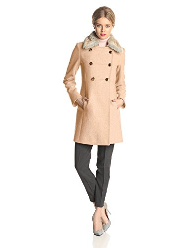 Jessica Simpson Women's Double Breasted Military Wool Coat with Fur Collar, Camel, Small