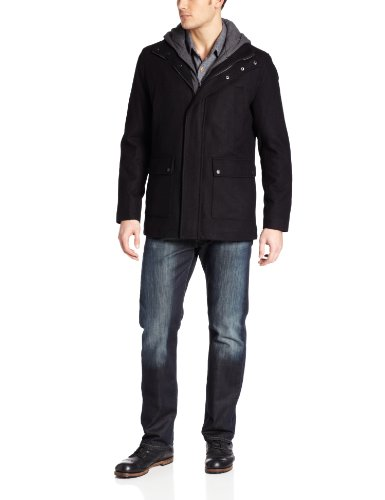 Calvin Klein Men's Melton with Zip Out Hoody, Black, X-Large