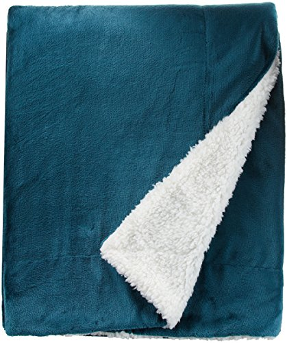 Northpoint Cashmere Velvet Reverse to Cloud Sherpa Throw, Teal