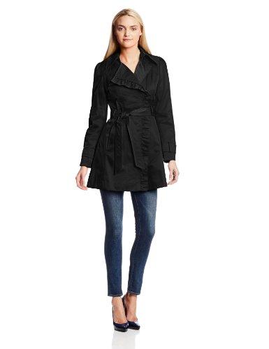 Jessica Simpson Women's Belted Ruffle Trench Coat, Black, Medium