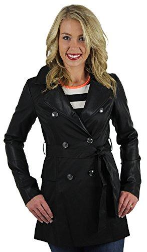 Jessica Simpson Faux Leather Sleeve Trench Coat Jacket Black Size M