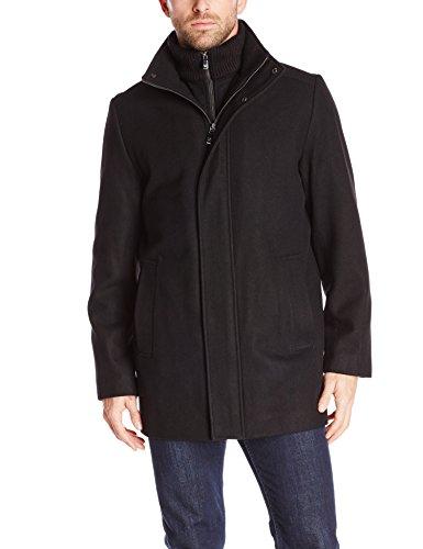 Calvin Klein Men's Long Wool Car Coat with Bib, Black, X-Large