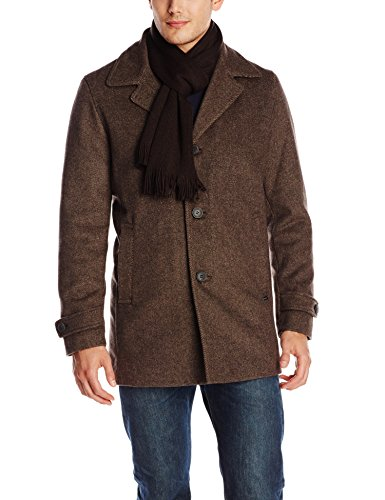 Calvin Klein Men's Car Coat with Scarf, Hickory Oatmeal, X-Large
