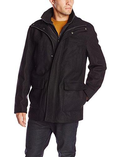 Calvin Klein Men's Wool Walking Coat with Bib, Black, X-Large