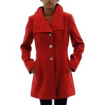 Jessica Simpson Women's Wing Collar Faux Wool Button Up Coat