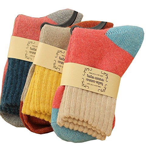 GDShop Women's Crew Socks Wool Thick Winter 5-Pack Mix Colors