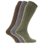 Mens Thermal Wool Blend Long Wellington Boot Socks (Pack Of 3) (US Shoe 7-12) (Grey/Green/Brown)