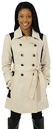 Jessica Simpson Women's Two Tone Double Breasted Trench Coat with Ruffle Detail