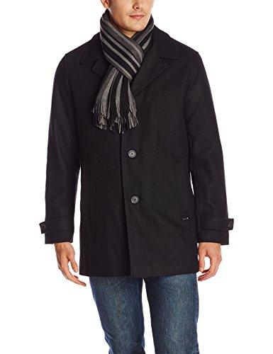 Calvin Klein Men's Car Coat with Scarf, Black, Medium