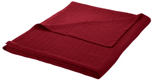 Impressions All Season Luxurious 100% Cotton Blanket Twin/Twin XL, Burgundy