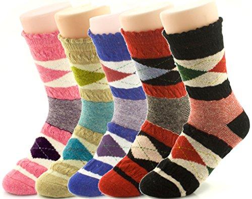 Jiye Womens Merino Ragg Wool Crew Socks 5-Pack,Color Box
