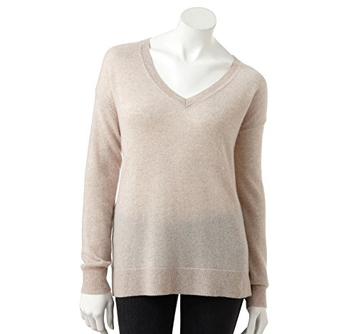 Apt 9 Womens 100% Cashmere Deep V-Neck Tunic Sweater – Tan Heather