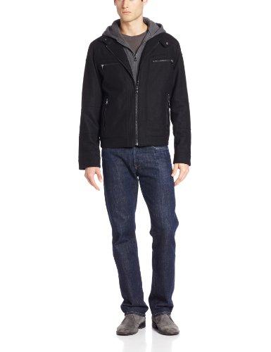 Calvin Klein Men's Moto with Hoodie, Black, X-Large