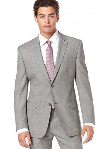 Alfani RED Slim Fit Light Gray Stepweave Wool Suit