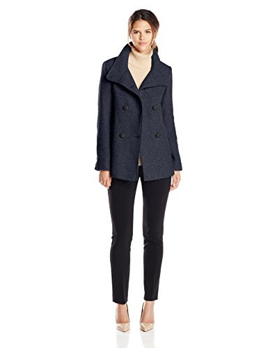 Jessica Simpson Women's Double Breasted Braided Wool Peacoat, Navy, Small