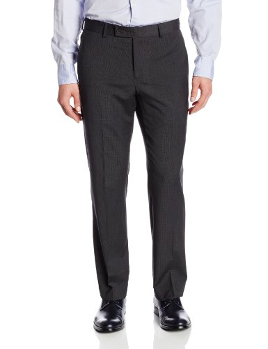 Nautica Men's True Travel Wear Flat-Front Charcoal Check Suit Separate Pant