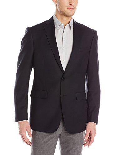 Calvin Klein Men's Melborn X Fit Black 2 Button Side Vent Sport Coat, Black, 44 Short