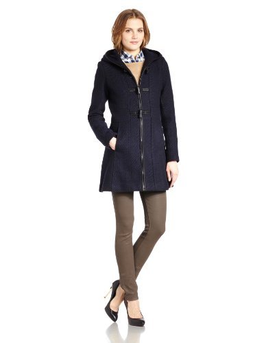 Jessica Simpson Women's Basketweave Wool Coat with Toggles, Navy, Small