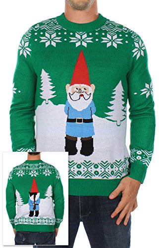 Men's Ugly Christmas Sweater – The Suspicious Axe Wielding Gnome Sweater Green
