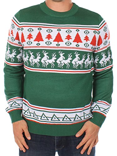 Ugly Christmas Sweater – Naughty Sweater with Reindeer Conga Line by Tipsy Elves