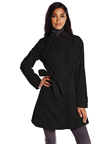 Jessica Simpson Women's Ruffle Front Trench Coat, Black, Large