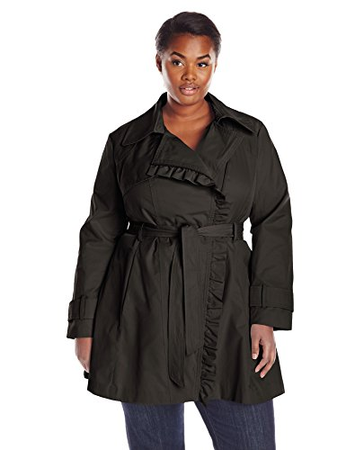 Jessica Simpson Women's Plus-Size Ruffle Front Trench Coat, Black, 1X